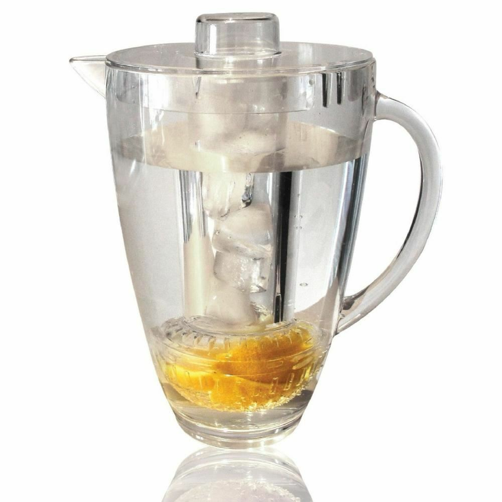 DOUBLE 1.8L FRUIT INFUSION PITCHER DRINKS ICE CORE KITCHEN BBQ WATER JUG INFUSER