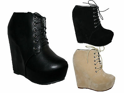 """LADIES 6"""" WEDGE HEEL LACE UP ANKLE BOOT WITH PLATFORM IN 3 COLOURS SIZES 3-8"""