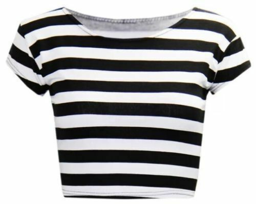 WOMEN/'S LADIES CASUAL SHORT CAP SLEEVE PRINTED CROP TOP JERSEY T-SHIRT SIZE 8-14
