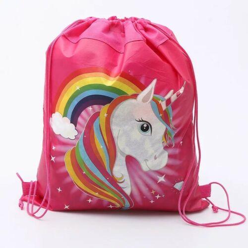 Swimming Bag Drawstring Unicorn Dark Pink School Birthday Party favour 27x34cm