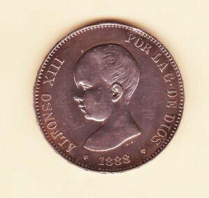Spain-1888-Alfonso-XIII-5-Pesetas-Madrid-MP-M-Crown-Silver-HIGH-Grade
