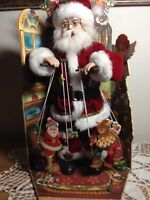 "Vintage Santa Puppeteer Animated Musical Wind Up Marionettes Christmas 18"" RARE"
