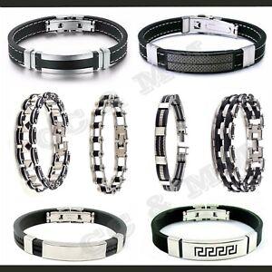 Bracelet-Silicone-Acier-Inoxydable-Chaine-Moto-Gourmette-Homme-Biker-Caoutchouc