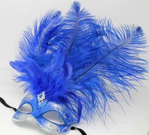 BLUE AND SILVER FEATHER MASK VENETIAN MASQUERADE BALL CARNIVAL PARTY EYE MASK