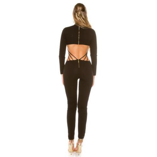 Da Donna Manica Lunga overall catsuit con Cut Out schiena NERO #ov409