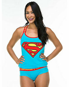 c4bccd249c8a DC Comics SUPERMAN PAJAMA SET Justice League TANK PAJAMAS Supergirl ...