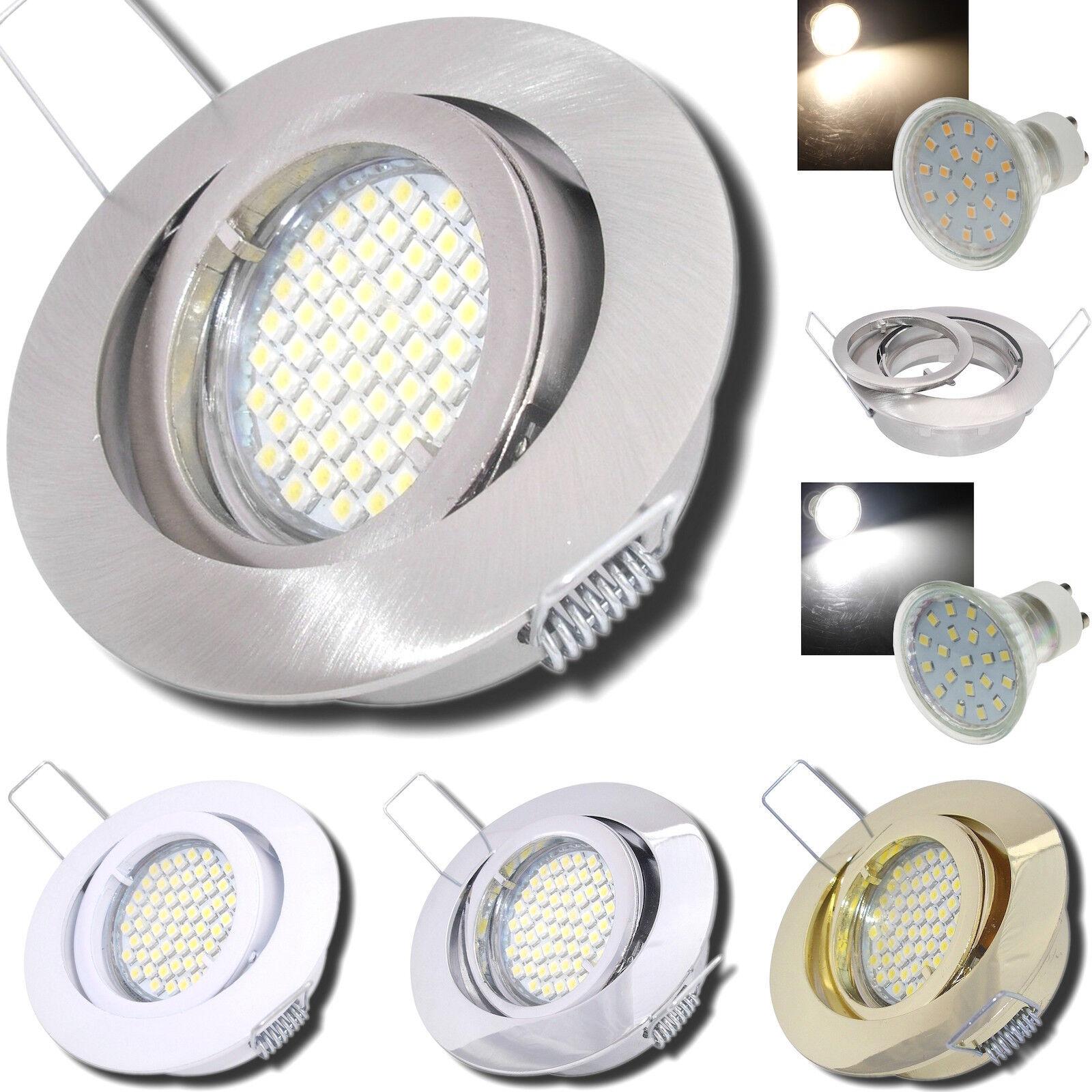 Gu10 Glas SMD Einbaulampen Tino / 230V / 5W=50 / Rund / Rostfrei / IP20 / EEK A+