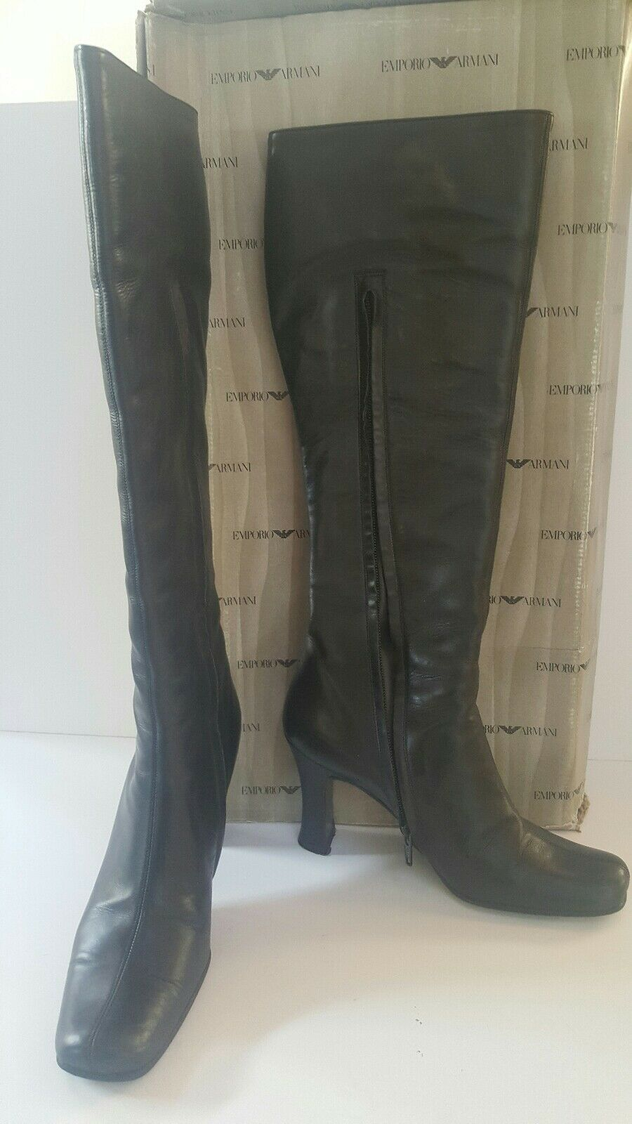 Emporio Armani Boots Women's Leather Black Knee High Heels 36.5/6 1/2 US Shoes