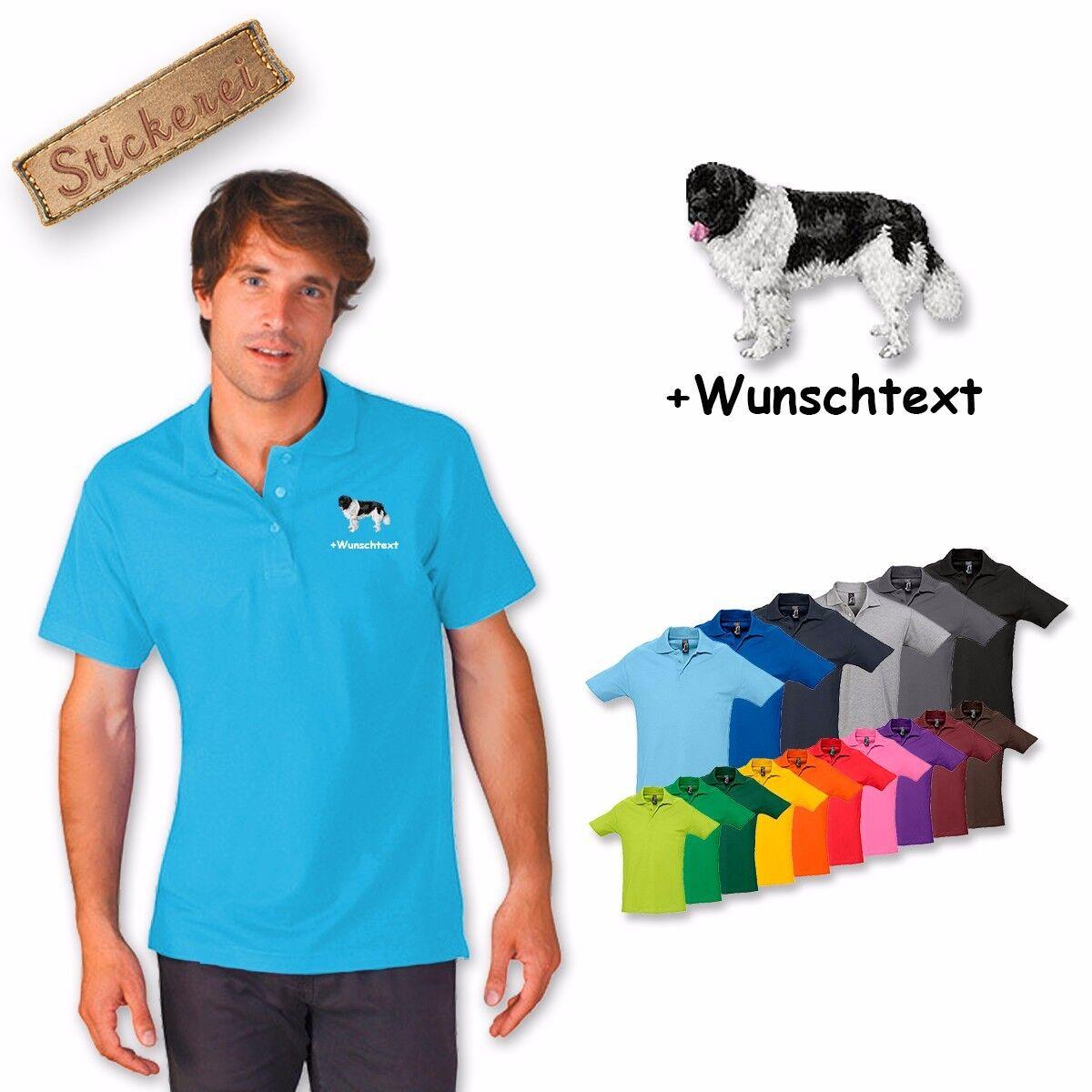 Camicia Polo Cotone Cane di Ricamato Ricamo Landers + Testo Personalizzato