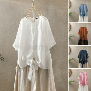 Womens-Short-Sleeve-O-Neck-Solid-Cotton-Shirts-Tee-Casual-Loose-Basic-Top-Blouse