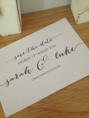 50 x Personalised Handmade Calligraphy Save The Date Cards Vintage Shabby Chic