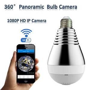360-gradi-Panoramico-1080P-Nascosta-wifi-Videocamera-Lampadina-Sorveglianza-IP