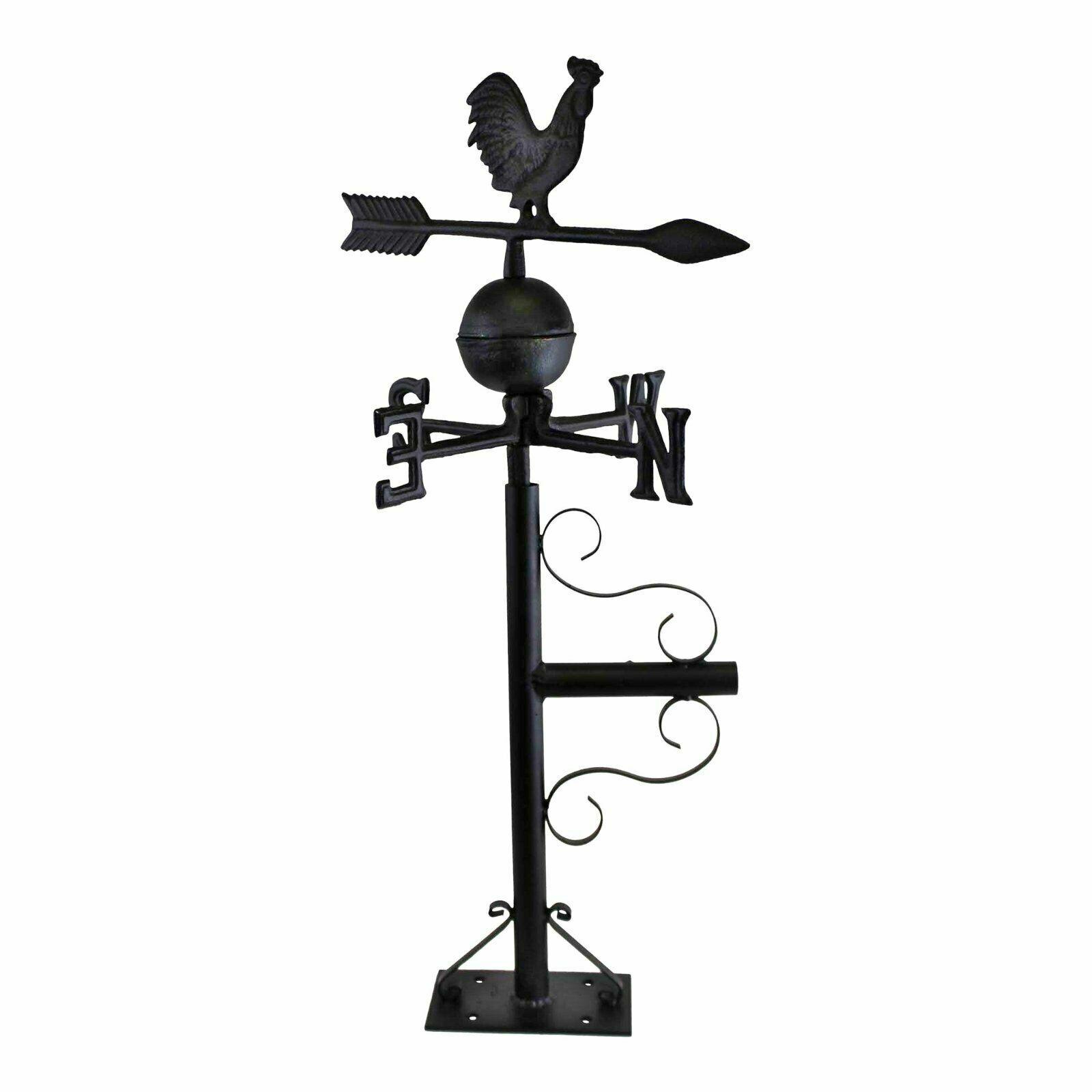 Rooster Design Cast Iron Large Weather Vane Mountable Garden Decor Metrology