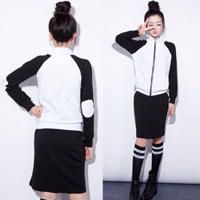 Lady Black White Cotton Zip Suit Set Sweatshirt Skirt Tracksuit Drawstring S M L
