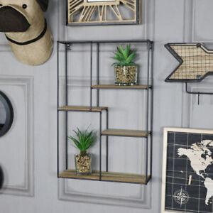 Rectangle black metal wood art deco retro wall shelf unit shelving ...