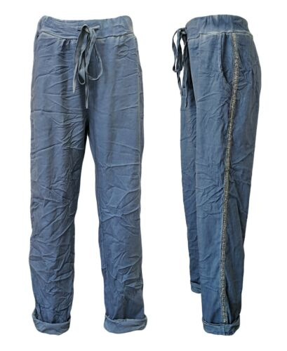 Sommerhose BAGGY Jogpants Schlupfhose 42-46 Crumpled Jeans Stretchhose