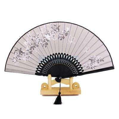 Chinese Linen Butterfly Flower Folding Hand Fan Lacquer Handle Japanese Gray