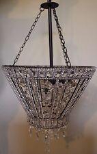 New Pottery Barn Belinda Round Beaded pendant chandelier *1 broken crystal