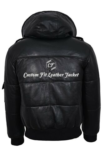 Mens Puffer Jacket Bomber Style Black Real Leather Hoodie Jacket Pilot 6 Puffer