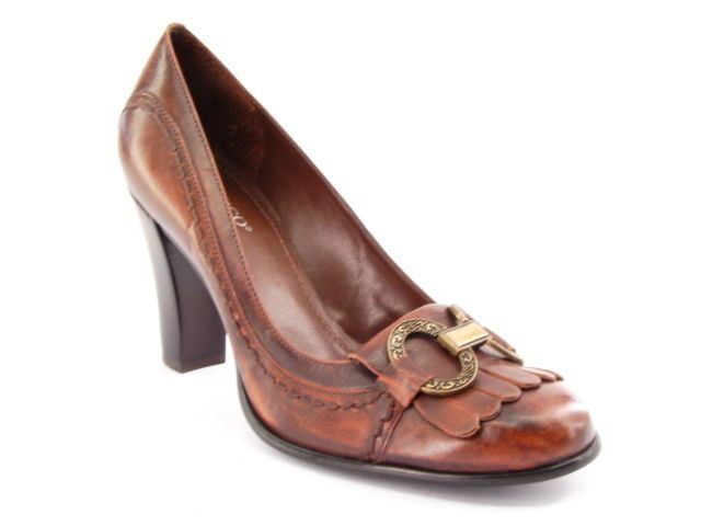 New FRANCO SARTO donna Marronee Leather High Heel Slip On  Dress Pump scarpe Sz 7.5 M  ordina adesso