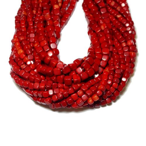 1 Strang #4484 bacatus Edelstein Schaumkoralle perle cubo brillo rojo 4 /& 6 mm