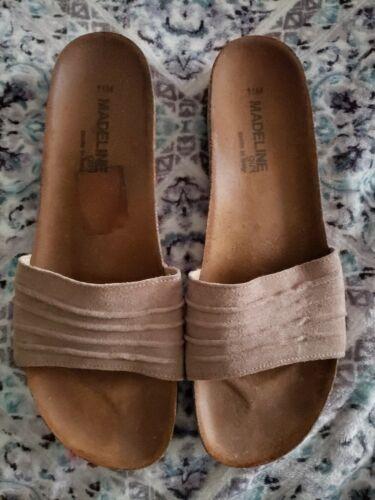 Madeline girl sandal, brown leather wedge heel sli