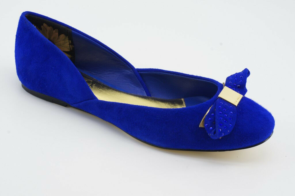 185 Nouveau Ted Baker Etaj Daim Bleu Ballerines 7.5 38.5 Ballerine Chaussures