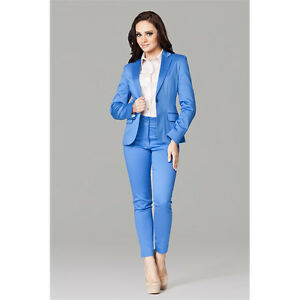 Blue Trouser Suit Womens Business Suits One Button Ladies Office