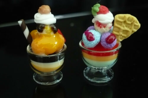 Set of 2 Ice Cream Sundae in Glass Dollhouse Miniature Food Supply Deco-ICEE