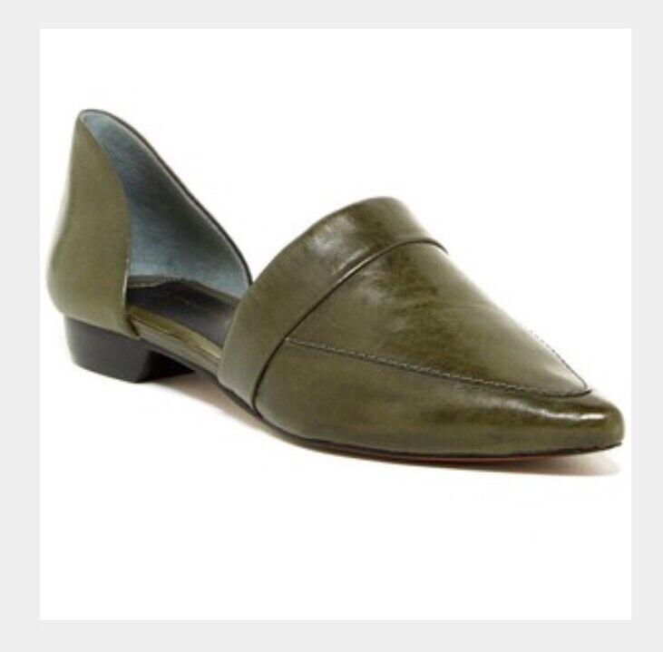 $295+NWB 10 Crosby Derek Lam Amaris Leather Flats Olive-green sz 10 pointy toe