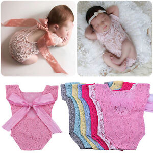 Newborn-Infant-Baby-Girls-Bowknot-Lace-Bodysuit-Romper-Outfit-Clothes-Photo-Prop
