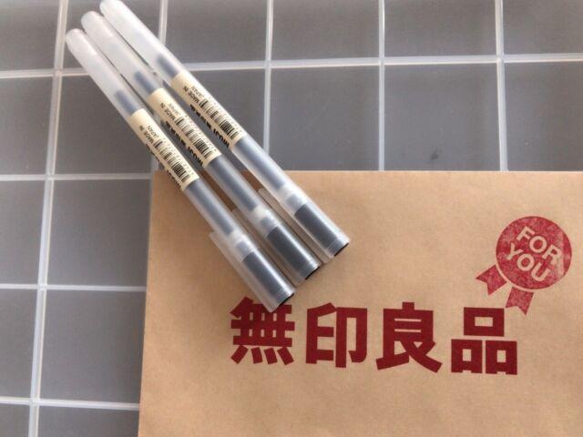 MUJI MoMA Japan 0.38mm Non-Toxic Gel Ink BLACK 3 Pens FASTEST FREE SHIPPING