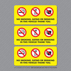 3-x-No-Smoking-Eating-Or-Drinking-Taxi-Stickers-Minicab-Cab-Notice-SKU5302