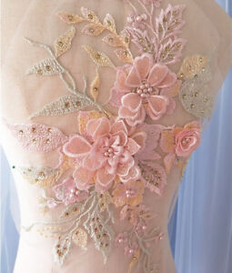 3D-Embroidery-Bridal-Flower-Lace-Applique-Pearl-Beaded-Tulle-DIY-Wedding-Dress