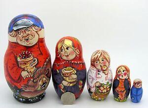 Russian-Nesting-Doll-5-BROWN-BEAR-amp-DAD-FAMILY-MATT-Unique-Matryoshka-SERGEYEVA