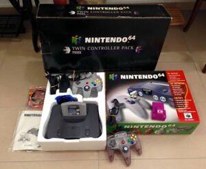 Nintendo-N64-BlackGray-Console-PAL-AUST-w-Clear-Purple-Controller-Game-amp-Rumble