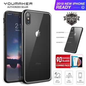 pretty nice 346f9 7d5c6 Details about iPhone X Xs Max XR Case Cover,YOUMAKER Shock-Absorption Slim  Bumper Case