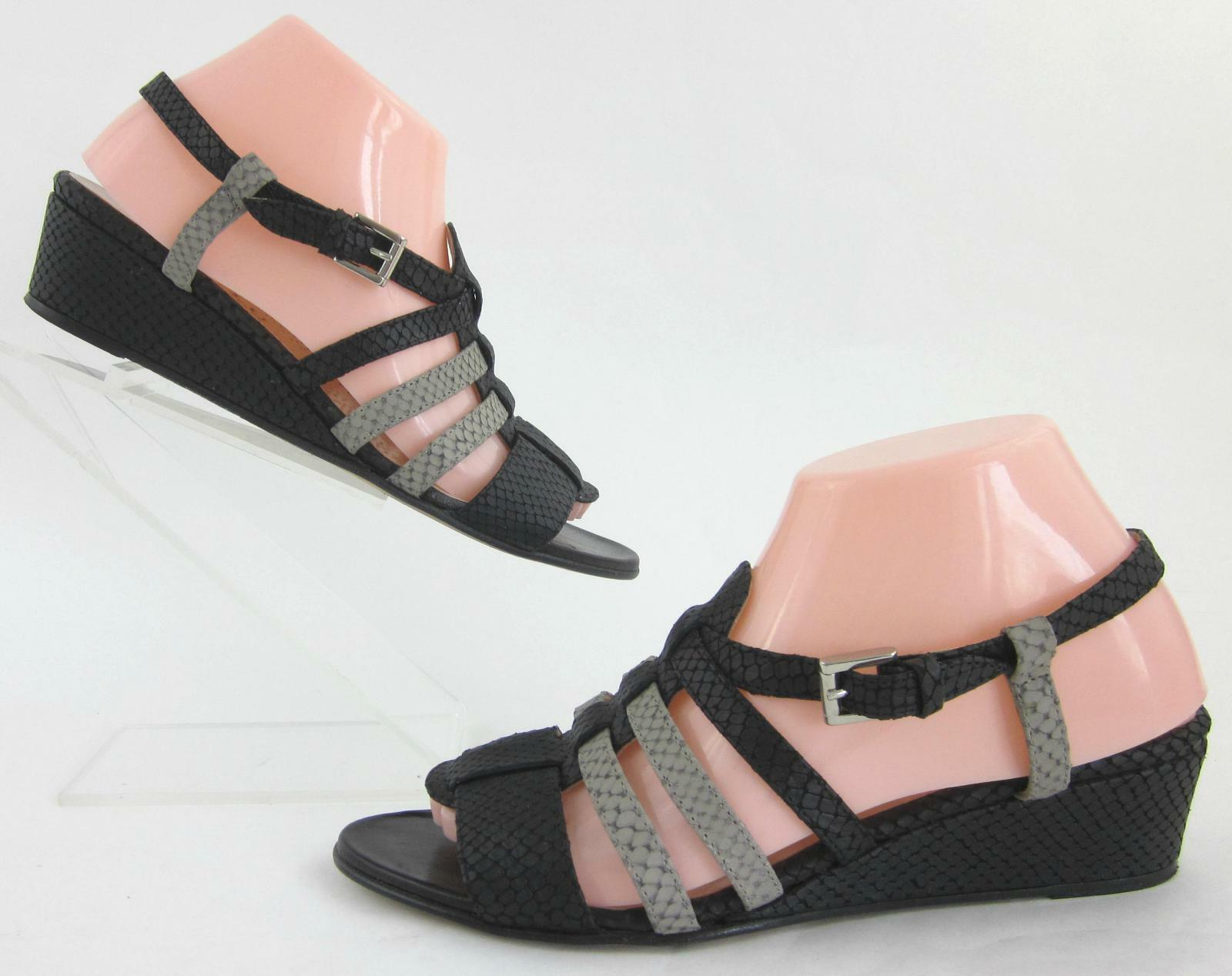 Anyi Lu 'Libby' Slingback Sandals Textured 8-8.5 Leather Black Gray US 8-8.5 Textured b68ad1
