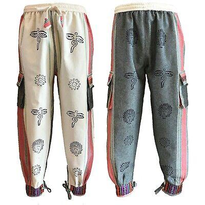 Candido Bhutan Stile Polsino Cravatta Pantaloni Unisex Hippy Boho Blocco Stampa In Crema E Grigio-mostra Il Titolo Originale