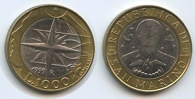 Liberal G13400 San Marino 1000 Lire 1999 R Km#395 Xf-unc Exploration Einfach Zu Reparieren Münzen Europa