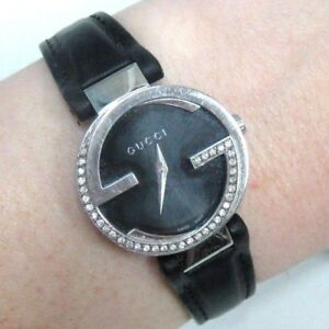 e4c9ad8c8ac4d Details about $2500 Gucci Women's YA133501 Interlocking-G Diamond Watch w/  Leather Band 133.5