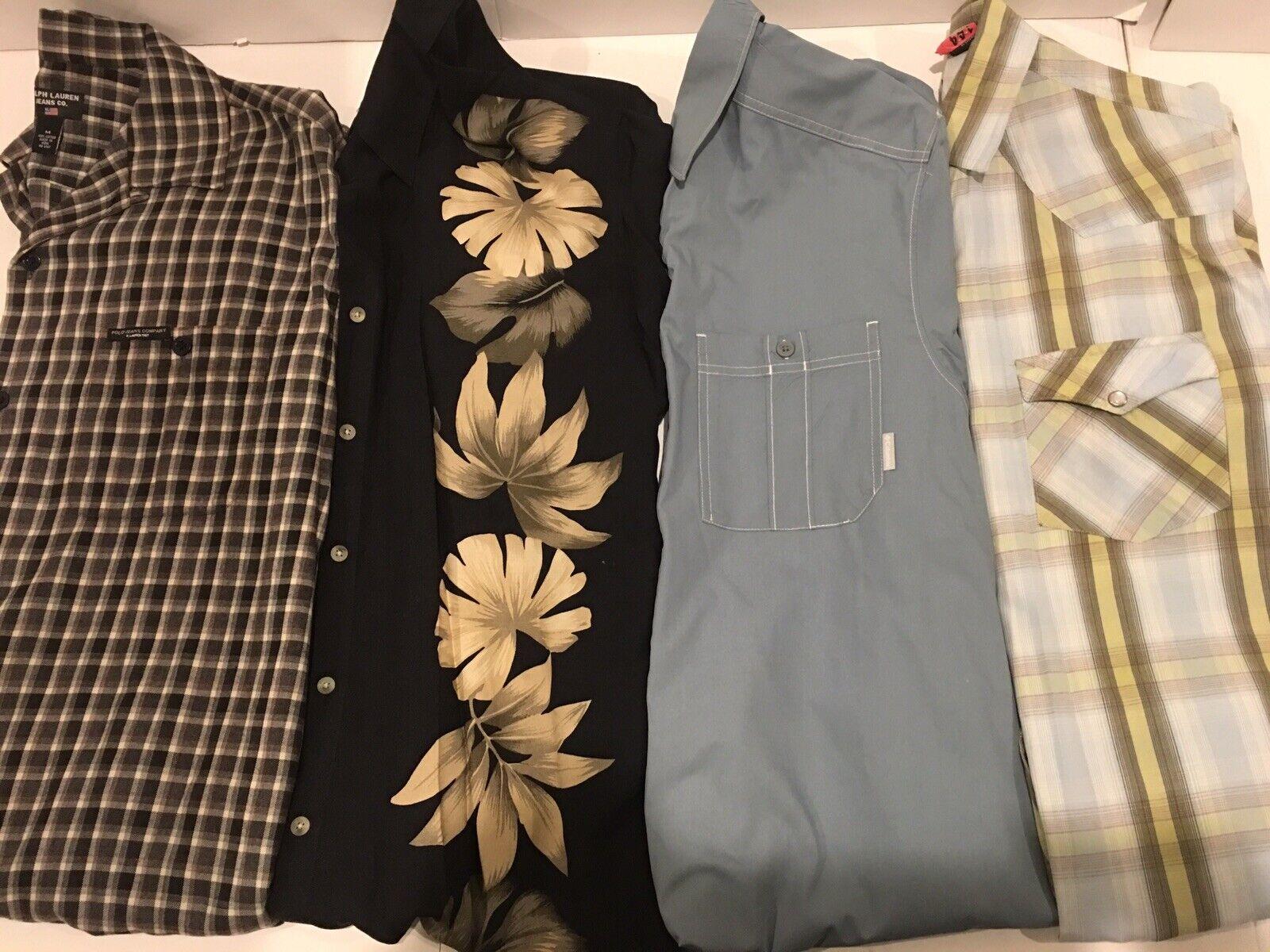 Vintage Men Dressy Button Up Short Sleeved shirt Lot of 4, Pre-owned Size Meduim