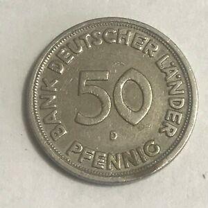 Münze Bank Deutscher Länder 50 Pfennig 1949 D (01)   eBay
