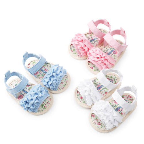 UK Newborn Baby Girls Princess Sandals Shoes Toddler Sneaker Anti-slip Soft Sole
