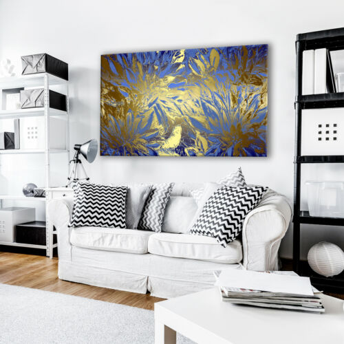 Blue Gold Brown Floral Cool Abstract Canvas Wall Art Large Picture Prints