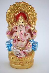 Ganesha Ganpati Naag Chuha Laddu Ganesh Om Hindu God White Metal