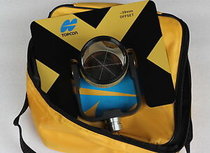 New-Yellow-Topcon-Metal-single-Prism-set-w-soft-bag-for-Topcon-total-stations