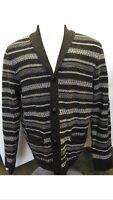 Men's Wallin & Bros. Black Combo Shawl Collar Cardigan Size L Ij