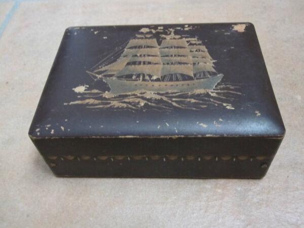 Altes Holzkästchen, Schatulle Mit Segelschiffaufdruck Neueste Technik