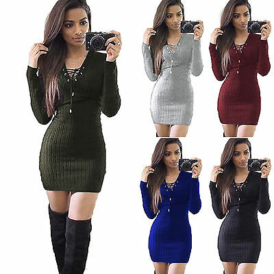 Women Lace Up Jumper Mini Dress Ribbed Knitted Bodycon Party Clubwear Sweater US